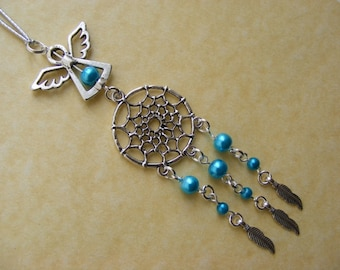 Turquoise Dreamcatcher Guardian Angel Car Grab Handle or rear view mirror Charm Birthday Present Gift