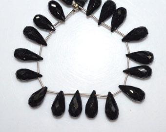 """195.5 Ct.1 Strand Natural Black Spinel Faceted Tear Drop Beads - Black Spinel Briolette , 16x8.5 - 19x8.5 mm , 6.5"""" , BL1634"""