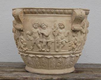 Plant Pot historicism 19th century pottery Puttos garden plant pot