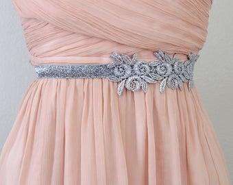 Silver Flower Lace on Skinny Silver Glitter Elastic Belt, Bridal Silver belt , Bridesmaid Silver  Belt, Silver Belt, Custom Size Belt