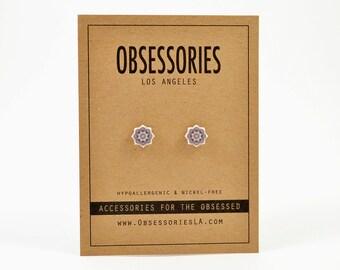 Mandala Earring Stud Earrings Post Mandala Jewelry Mandala Accessories Mandala Gift Spiritual Gift Hindu Gift Buddhist Gift Yoga Gift Idea
