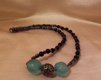 Black and Aqua Necklace