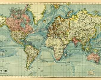 World Map-printable digital download.Old World Map-Instant Digital Download.PRINTABLE map.High resolution world map. Crafting map scrap