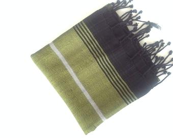 Turkish Pareo towel, Herbal silk towel, beach towel , bath towel,  wedding party, gift, green