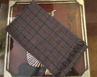 "Vintage 1980s Evan Picone 100% Wool Scarf in Gray, Navy & Burgundy Plaid, size 68""x10"""