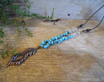 Long Boho Necklace, Turquoise with Feather Charm
