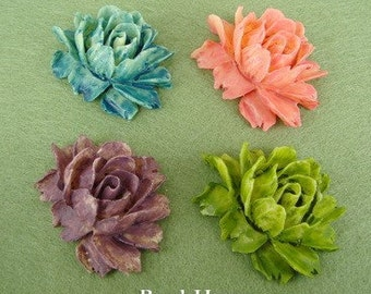 20%off 34-00-CA  2pcs Tie-Dyed Cabbage Rose Cabochon