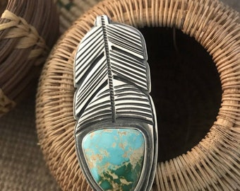 Tommy Jackson Pilot Mountain Turquoise & Sterling Ring Size 9 Signed