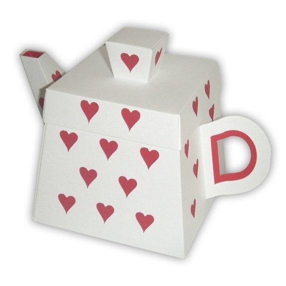 Alice in Wonderland Queen of Hearts Teapot Gift Box Printable