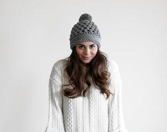 Beanie with pom pom, crochet chunky beanie, pom pom hat, womens hat with pom pom MP042