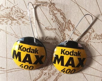 Upcycled 35mm film cassette drop earrings - Kodak and Ilford