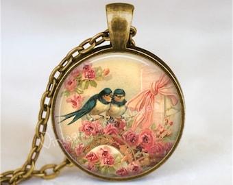 BLUEBIRD Necklace, Bluebird Pendant, Swallow Necklace, Pink Roses, Shabby Roses, Bluebird, Lovebird Pendant, Glass Art Necklace