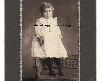 little toddler girl in white gown, high button shoes, cabinet card photo, antique photograph, vintage photography