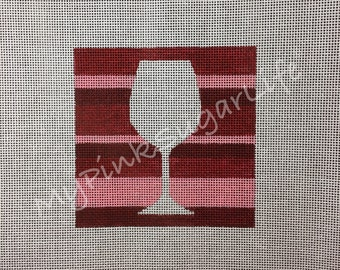 "Hand Painted Vino Striped 4"" x 4"" Ornament Needlepoint Canvas by MyPinkSugarLife"