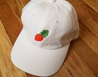 Chubby Baby Carrot Dad Cap - Kawaii Hat in PINK, BLUE, and WHITE