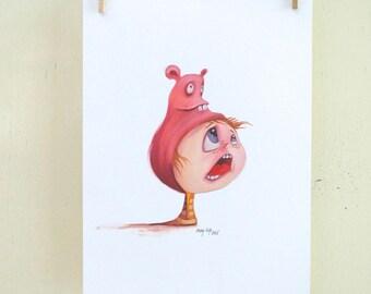"original illustration ""Hat 09"" (oil on paper painting)"