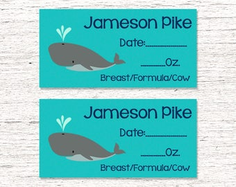 80 Dishwasher-Safe Removable Baby Bottle Labels -  Personalized breast milk labels for daycare - Whales