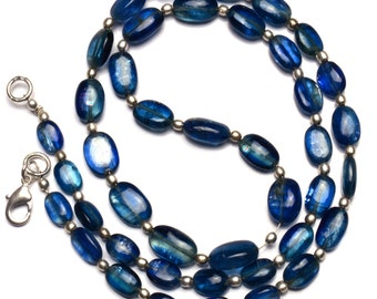 Natural Gemstone Smooth Blue Kyanite 8x6 to 11x7MM Oval Nugget Beads 20 Inch Full Strand Fine Quality Beads from Nepal Complete Necklace