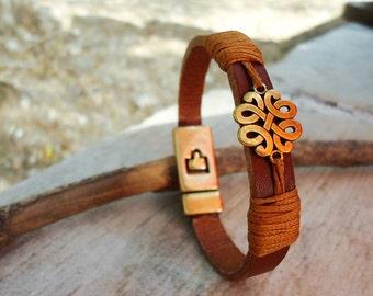 Leather Celtic Bracelet,Leather handmade Bracelet,Leacher cuff Bracelet,Womens Leather Bracelet,Leather Jewelry,Leather Gaelic Bracelet