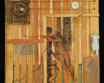 Archetype Venus: assemblage art, original art, collage art, inspired by Joseph Cornell, honey, gold, cream, love, Foundturtle, fine art