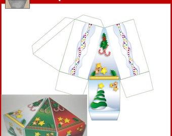 Silver Christmas Cake Box Printable