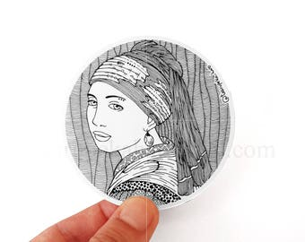 Girl with a Pearl Earring, Vinyl Stickers, Vermeer, Classic Art, Famous Painting, Sticker Car Macbook, Polka Dots, Black and White, Zen Art