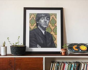 Paul McCartney Art, The Beatles Art, Vintage Poster, Poster Art, Wall Art, The Beatles, Rock and Roll, Fine Art, Painting, Musician Portrait