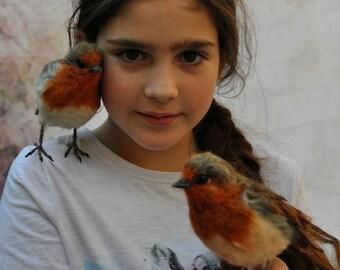 Robin - Handmade Bird - Needle Felted Bird - Bird Sculpture - Red Robin - Christmas Robin - Robin Red Breast - Bird Figurine - Needle Felted