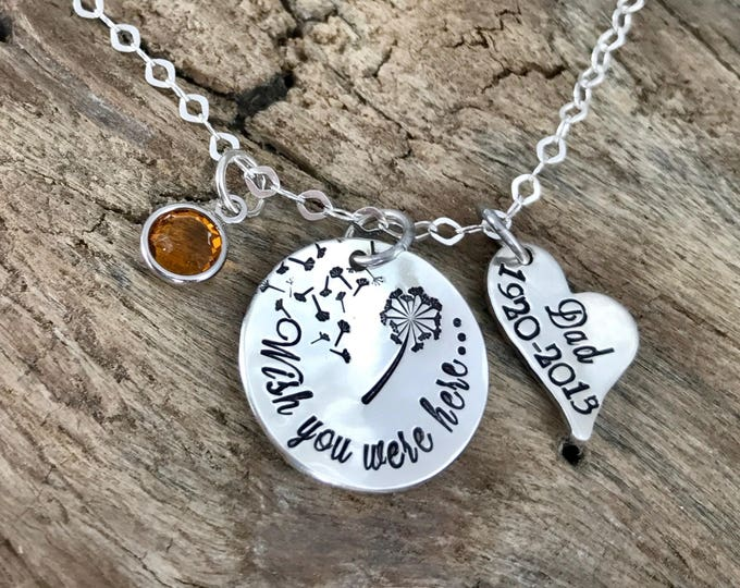 Loss of a Friend | Wish you were here | Memorial Jewelry | Dandelion Necklace | Friend memorial |  In memory of friend