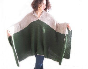 Plus Size Over Size Mohair Poncho - Pelerine with Hood Green - Beige