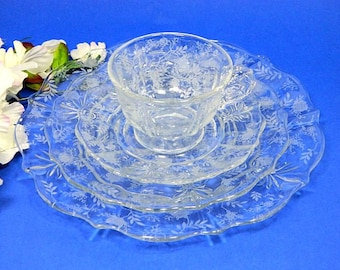 Elegant Glass Fostoria Chintz Baroque Four Piece Place Setting Etched Roses Multiples