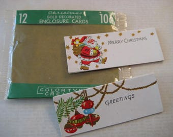 Vintage Christmas Gift Tags / Santa Claus / Ornaments / Gold Gilding / Unused / Original Package / Colortype