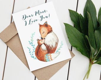 Watercolor Mothers Day Card Printable Cute Mothers Day Card For Mom I Love You Mom Card Fox Mothers Day Card For Mother Fox Mom Mummy Mum