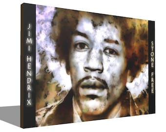 Jimi Hendrix Stone Free 100% Cotton Canvas Print Using UV Archival Inks Stretched & Mounted Limited Edition