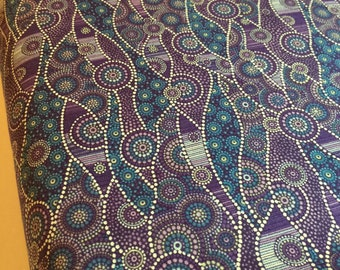 Australian Themed Fabric - Ocean Waves - Down Under - WAVE in Purple  by Oasis - Beach Patt. 60-119  Australia-100% Quality Cotton - Yardage