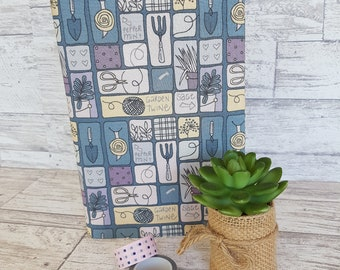 A5 Journal cover - a5 fabric book cover - Fabric Covered Notebook - exercise book cover - art journal cover - Sage Design - Happy planner