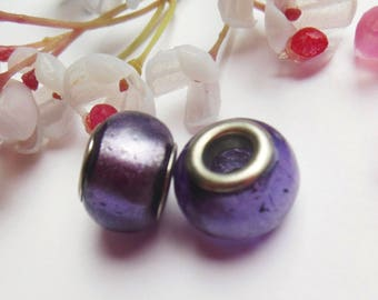 set of 16 purple lampwork glass beads