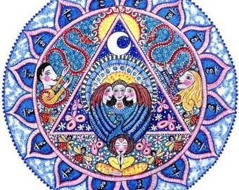 5th Chakra Art Mandala Card Vishuddhi Chakra art meditation yoga wall art blank greeting card Communication energy center