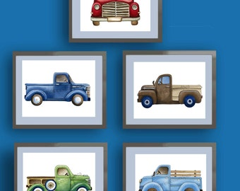 Boys trucks art, vintage trucks artwork,  boys cars trucks nursery art, vintage pickup trucks art