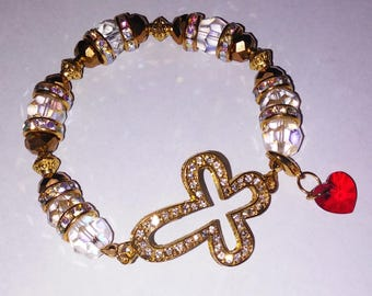Religious Christian Jewelry Cross Heart Bracelet Religious Jewelry Christian Bling BR4