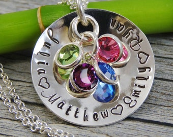 Personalized Mom Necklace - Hand Stamped Jewelry - Mother Necklace - Sterling Silver Necklace - Fits 30 Characters - Names and Birthstones
