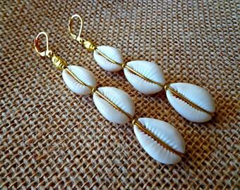 Sea Shell Earrings, Beach Jewelry, Triple Cowrie Shell Earrings, Cowry Shells, Ethnic Dangle Earrings, African Earrings