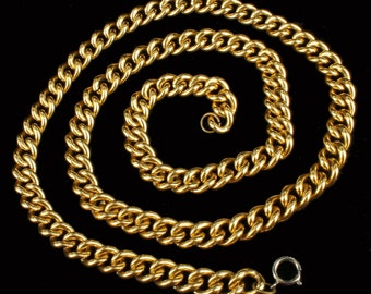 Vintage 12MM Thick Shiny Gold Tone Curb Link Chain Necklace 36""