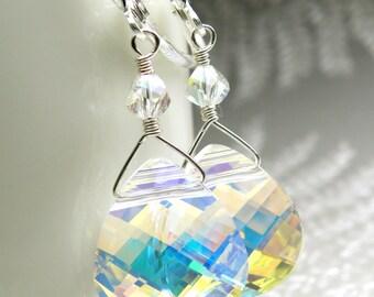 Teardrop Swarovski Crystal Earrings, Sterling Silver Clear White Moonstone Opal Bridesmaid Wedding Jewelry, October Birthday Birthstone Gift