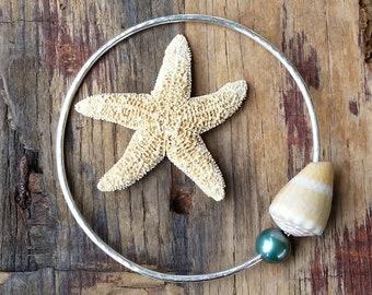 Hawaii Beach Jewelry, Silver Hawaiian Bangle Bracelet, Mermaid Jewelry, Tan Cone Shell and Teal Pearl, Beachy Boho, Ocean Lover Gift