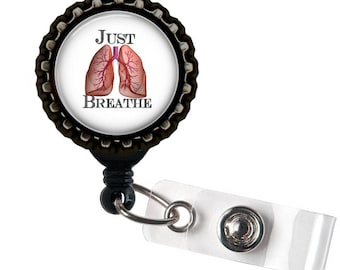 Just Breathe - Lungs - Black Retractable Badge Reel ID Holder