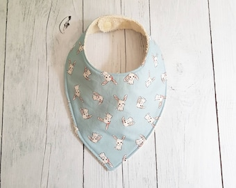 Bandana bib bunnies on blue fabric lining Terry ecru