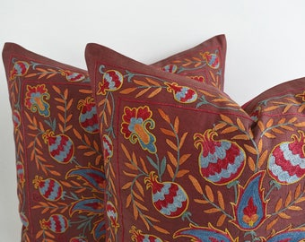 Silk Hand Embroidered Suzani Pillow Cover, suzani pillow, suzani, pillow cover, dirty purple, mauve, designer pillow  suzani pillow