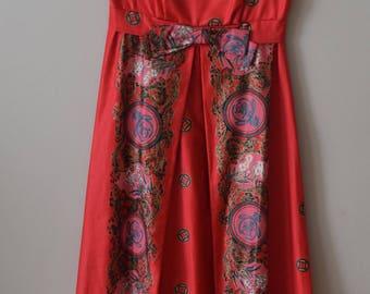 Vintage 1960s Hand-painted Malihini Hawaiian Maxi Dress
