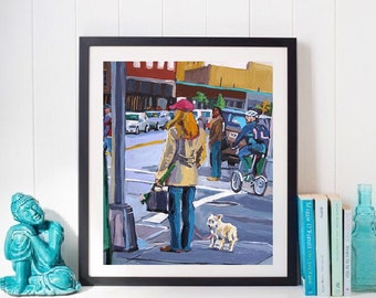 Pet Lover, Dog Painting  Wall Art, Dog Lover, dog walker, girl with Dog, NYC Street scene, pet owner, walking the dog  by Gwen Meyerson